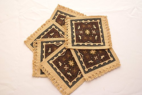 Southwest Tapisserie Untersetzer Set von 6Baumwolle Schablone Stil 15,2x 15,2cm Esstisch Drink Untersetzer mit Fransen Style B