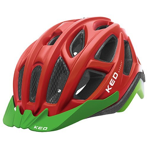KED Fahrradhelm Pylos Kopfumfang 55-61cm, Größe L, Farbe Red Green Matt, Extrem gut belüfteter All-Mountain Helm in robuster maxSHELL®- Technologie - Made in Germany