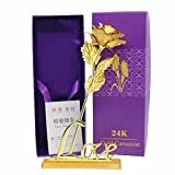 Lavanaya Silver 24K Gold Red Rose Gift Box With Golden Love Stand
