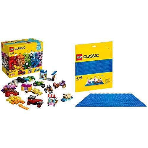 LEGO Classic 10715 - Kreativ-Bauset Fahrzeuge, Spielzeug &  Classic 10714 - Blaue Bauplatte, Kreatives Spielen