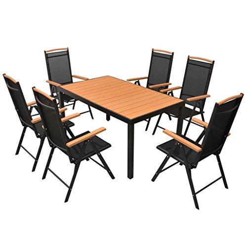 Lingjiushopping Ensemble de salle à manger de jard ¨ ªn aluminium Polywood WPC 7 pièces matériel de la chaise : assise et dossier de Textilene + Structure 100% aluminium avec revêtement en poudre