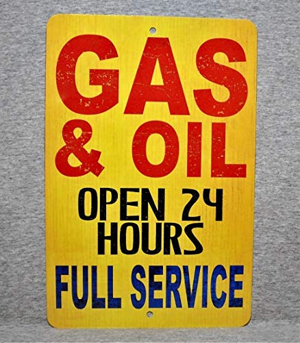 Metal Sign Gas & Oil Filling Station Fuel Center Garage Motor Full Service Aluminum Thick Man Cave Wall Multi Communication Center