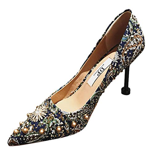 Wawer Damen Spitz Glitzer Pumps mit Knöchelriemchen Kleinem Absatz Pumps mit Strass Heel Cut Out Modern Schuhe