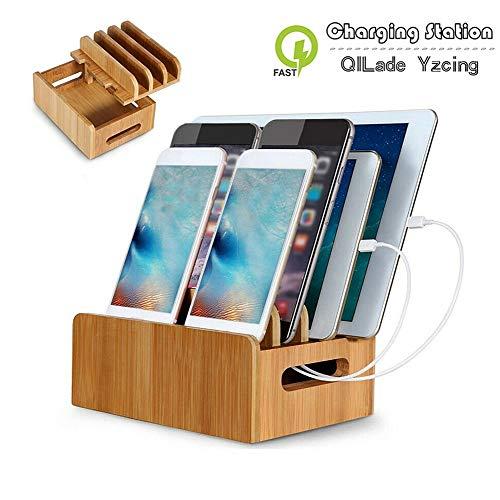 QILade Yzcing Bambus-Ladestationen Multi-Device-Kabel Ladestation Docks Holder Stand für iPhone 8 X 7 und Tablets für iPhone für Samsung Galaxy Dock (Ladestationen Für Samsung)