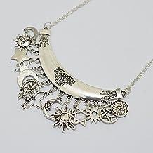 Charm Sun Moon Star Engel Pentagramm Hexagramm Moon Katze Lotus Om Halskette, Halbmond OM Halskette, OM Halskette Mond. Jewelry Halskette