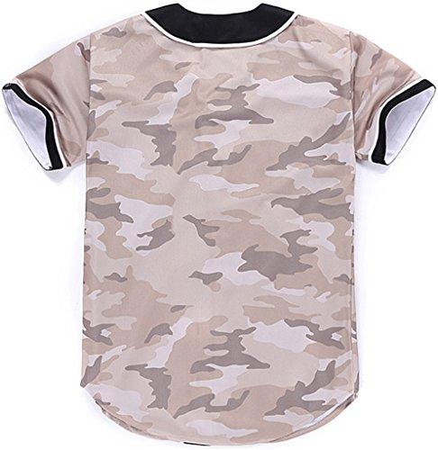Pizoff Herren Lässig Hip-Hop T-Shirts Tops mit Knöpfen und Bunt Muster Y1724-33