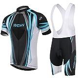 Baymate Herren Atmungsaktive Schnell Trocken Trikot Set Radsport Jersey + Fahrrad Träger Hosen für Outdoor Radfahren
