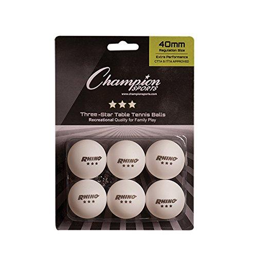Champion Sports Tischtennisbälle mit 3 Sternen, Unisex-Erwachsene, 3 Star White Table Tennis Balls, 6 Pack, weiß, Einheitsgröße -