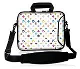 Luxburg® 17,3 Zoll Laptop Tasche Hülle für Notebook Tablet Sleeve Neopren mit Schultergurt und Fach, Motiv: LX Muster weiß