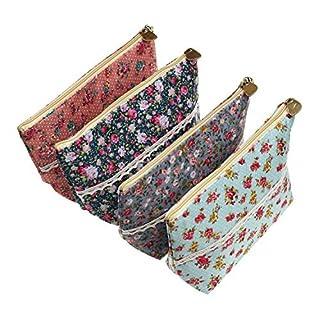 LJY 4 Stücke sortierte große Kapazitäts-Blumen-Blumenfeder-Halter-Briefpapier-Bleistift-Beutel, der Multifunktionskosmetik-Beutel reist