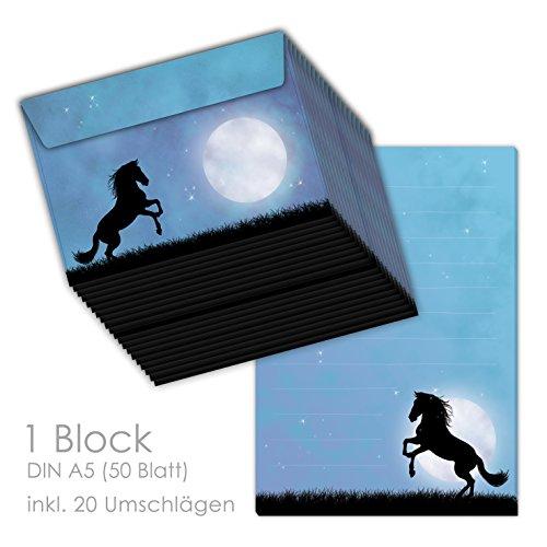 'Papel de carta/carta Block Set 'Caballo en la luna Luz DIN A5(renglones 50hojas) Incluye 20passenden Sobres/Papel de carta Juego Papel de carta, caballo, papel de carta caballo