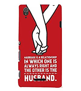 Fiobs Designer Back Case Cover for Sony Xperia T3 (Love Quote Red Pyaar Marriage Wedding )