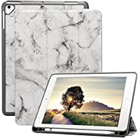 A-BEAUTY iPad 9.7 2018/2017 Funda con Pencil Holder, Ultra Delgado TPU Honeycomb Soporte Triple y Auto Sueño/Estela para Apple iPad 9.7 2018/2017 / iPad Pro 9.7 / iPad Air 2 / Air, Mármol Negro Ash
