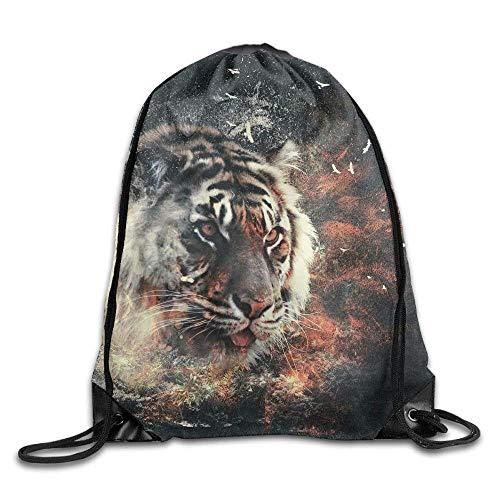 Etryrt Turnbeutel/Bedruckte Sportbeutel, Premium Drawstring Gym Bag, Drawstring Backpack Cool Tiger Drawstring Backpack Rucksack Shoulder Bags Training Gym Sack for Man and Women -
