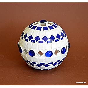 Handgefertigte Rosenkugel weiß blau spiegel 10 cm