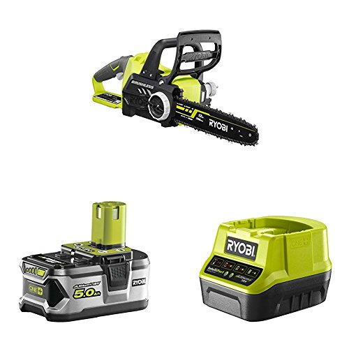 Ryobi OCS1830 ONE+ 18 V Cordless Brushless Chain Saw (30 cm Bar) with Lithium+ 5.0Ah Battery and Charger