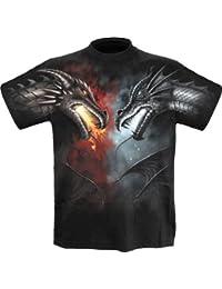 Spiral Direct Drache-Kampf Herren-Metall / Fantasy -T-Shirt Large