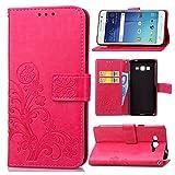 pinlu Schutzhülle Für Samsung Galaxy Grand Prime (G530 / G5308) Handyhülle Hohe Qualität PU Ledertasche Brieftasche Mit Stand Function Innenschlitzen Design Glücklich Klee Muster Rot