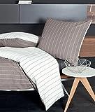 Janine seersucker biancheria da letto Tango 20020–08, Marrone, Cotone, marrone, 135 x 200 cm + 80 x 80 cm