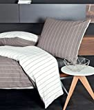 Janine Mako Soft Seersucker Bettwäsche 2 teilig Bettbezug 135 x 200 cm Kopfkissenbezug 80 x 80 cm Tango 20020-07 taupe
