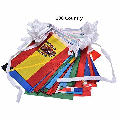 Pi-Pi 100Country Verschiedenen Länder Saite Flagge International Welt Banner Wimpelkette Bar Home Party Dekoration