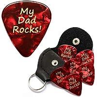 My Dad Rocks Red Guitar Picks With Leather Plectrum Holder Keyring