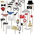 Veewon New Fashion Wedding Photo Booth Props Decorations PhotoBooth props Valentine's Day, 31 pcs attached to the stick NO DIY required,Mustache, Hats, Glasses, Mouth, Crown, Ring, Mr Mrs, Love Bird