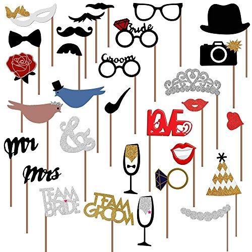 comprare on line Veewon nuovo modo delle fotografie Wedding Booth puntelli decorazioni Photo Booth puntelli San Valentino, 31 pezzi attaccato al bastone NO fai da te richiesto, Baffo, cappelli, occhiali, Bocca, Corona, Anello, Sig.ra, Amore Uccello prezzo