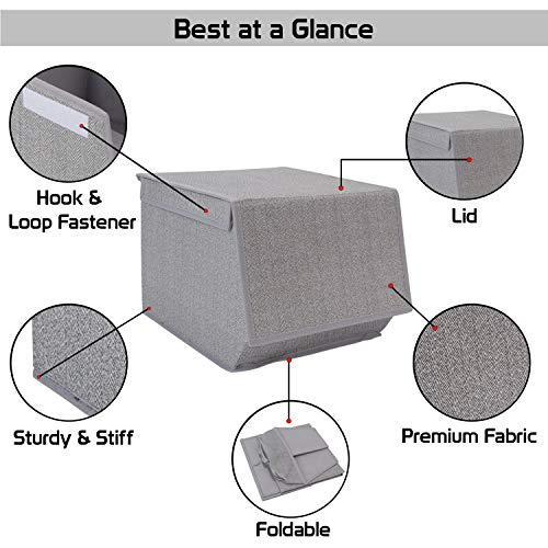 HomeStorie® Non-Woven Fabric Storage Organizer Box with Lid, Small, 25 x 35 x 24 cm