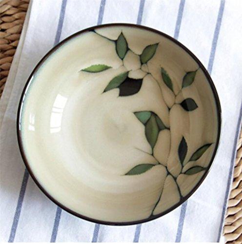 Salade de fruits Bol en céramique style japonais vent feuilles de bambou dessinés à la main Ramen bol bol bol bol bol 20 cm * 6 cm Assiette de salade