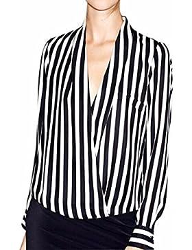 V cuello profundo de manga larga negro rayas blancas de Polyster mujeres de la gasa de la camisa ocasional