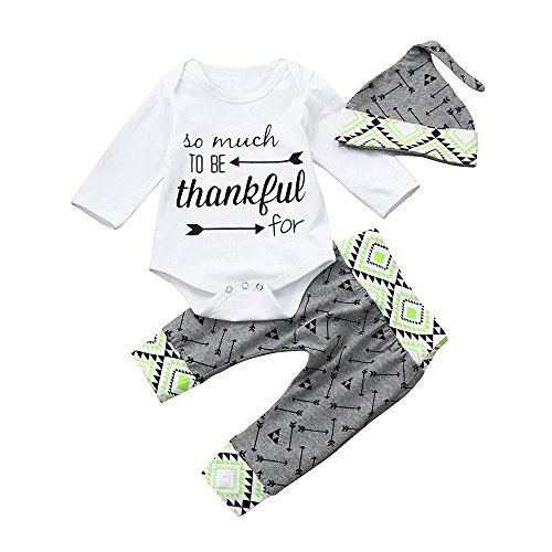 31930fed8 ... Christmas Outfits Newborn Infant Baby Boy Girl Long Sleeve Clothes 3Pcs  Letter Romper+Print Tops+Cap Set For 0-2 Years NY-24 (12 Months) - Buy  Online in ...