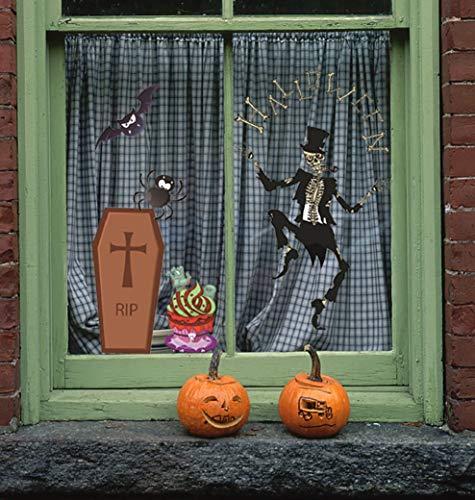 XT-Direct Ghost Aufkleber Totenkopf Kürbis-Aufkleber Halloween-Dekoration, Accessoires, aus selbstklebendem PVC für Halloween, Zuhause, Fenster, Vampir, Zombie-Party, Dekoration (insgesamt 4 Bögen)