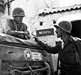 Digitally restored vector photo of General George Smith Patton discussing military strategy with a fellow soldier. Circa 1943, Brolo, Italy Poster Print (29 x 27)