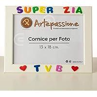 Cornici per foto in legno con la scritta Super Zia TVB e decorata con cuoricini, da appoggiare o appendere, misura 13x18…