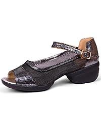 QIANDA Zapatos De Baile Mujer Plegable Resistente Al Desgaste Suela De Goma Hebilla Talón Medio Verano, Altura...