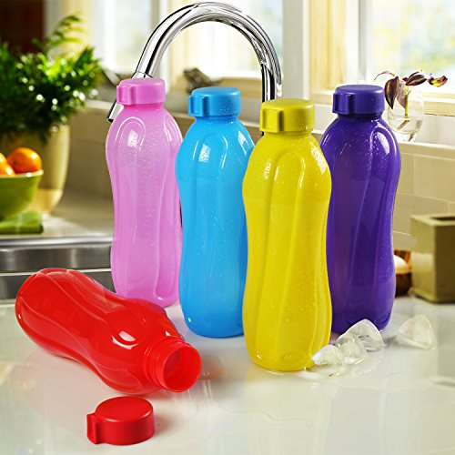 Cello Aqua Cool Polypropylene Bottle Set, 1 Litre, Set of 5, Multicolour