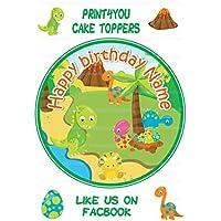 Decoración redonda para tarta personalizable de cumpleaños de dinosaurio de dibujos animados ND2, aproximadamente 19