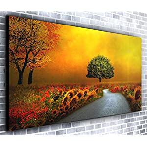 Country Road Painting Wall decor Panoramic Canvas Wall Art Print Framed XXL 55 inch x 24 inch Over 4.5 ft Wide x 2 ft High Ready to Hang Canvas Print – Landscape Photograph – Modern Art
