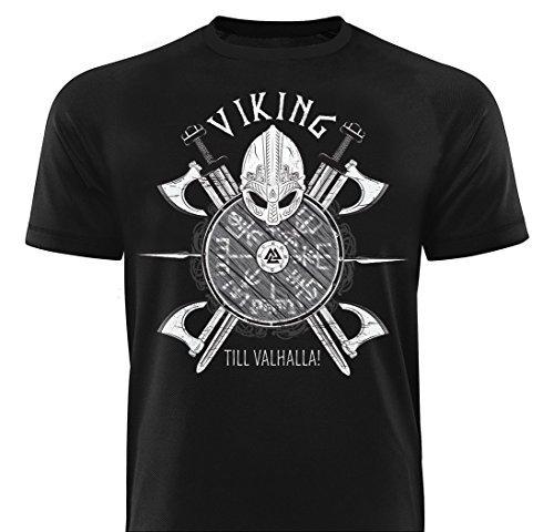 GODSRAGE Shirt Viking Till Valhalla T-Shirt Training Trainingsbekleidung Damen Herren Sport Bodybuilding M
