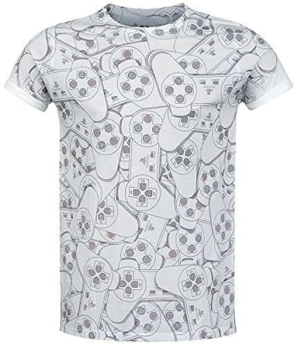 PLAYSTATION Sony One Controller All-Over Sublimation T-Shirt (Large, Grey)_P