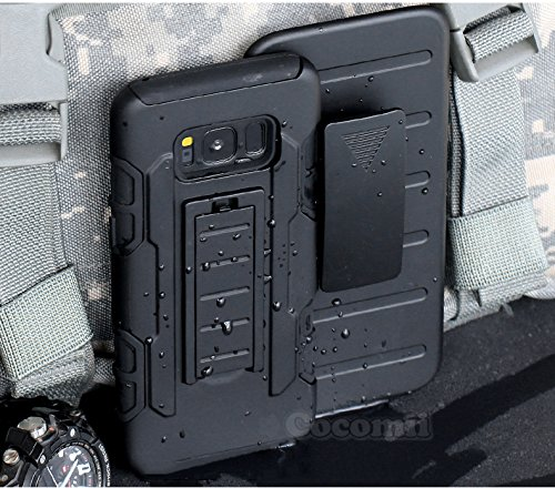 Galaxy S8 Hülle, Cocomii Robot Armor NEW [Heavy Duty] Premium Belt Clip Holster Kickstand Shockproof Hard Bumper Shell [Military Defender] Full Body Dual Layer Rugged Cover Case Schutzhülle Samsung (Black) (Samsung S5 Otterbox-holster Case)