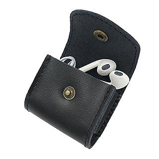 Echtes Leder Kopfhörer Tasche Ohrhörer Hülle Kabel Draht Organisator Tragbar Etui Praktisch Zubehörteil Earphone Cord Wickeln Wickler, DUBENS Mini Münzbörse Kleingeldbörse Geldbeutel (Schwarz)