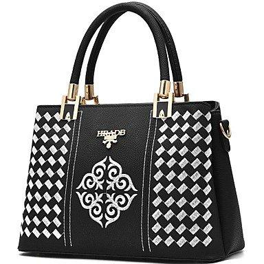 Damenmode PU Leder Schulter Messenger Crossbody-tasche/Handtasche Tote Black