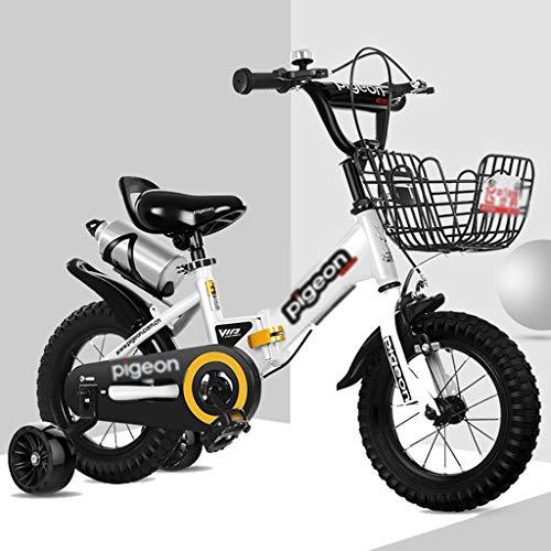 Kinderfahrräder Fahrräder Indoor-Heimtrainer Kinder-Klapprad Kinder-Outdoor-Mountainbike Junge Und Mädchen, Die Dreirad Fahrrad Fahren Fahrrad Als Geschenk Für Kinder (Color : Weiß, Size : 12inches)
