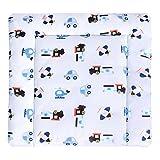 LULANDO Wickelauflage 75x75 cm Oberstoff 100% Baumwolle in tollen Designs. Passend u.a. für die Kommode IKEA Malm Farbe: Airplanes - Stripes