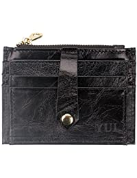 Women'S Genuine Leather 10 Slots 2 Id Windows 1 Zipper Pouch Slim Card Holder Wallet (Black) By Yui