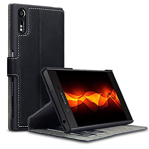 Coque Cuir Xperia XZ / XZs, Terrapin Étui Housse en Cuir Ultra-mince Avec La Fonction Stand pour Sony Xperia XZ / XZs Étui - Noir