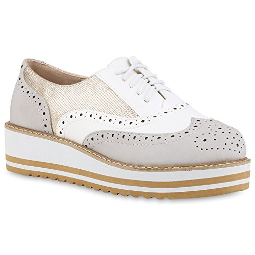 Damen Halbschuhe Dandy Style Brogues Profilsohle High Fashion Grau Cabanas