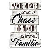 Wandschild Dekoschild Chaos Familie Schild Sprüche Vintage Shabby 29 x 20 cm